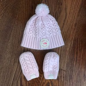 North Face pink hat and mittens